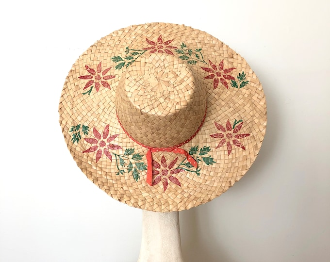Featured listing image: Vintage 50's 60's Straw Beach Hat - Floral Wide Brim Sun Hat