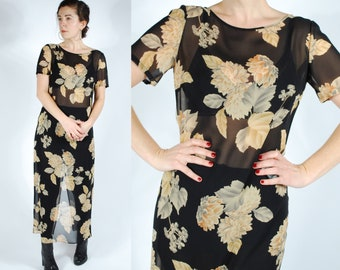 90's Sheer Floral Midi Dress - 90's Silk Chiffon Black Dress - Size S/M