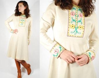 60's 70's Embroidered Cream Dress - 60's Boho Embellished Dress - Size M