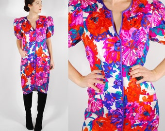 1980's Floral Silk Dress - 80's Pink Cocktail Party Dress - Size M