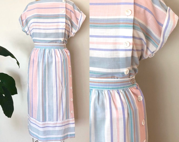 Featured listing image: 1980's Striped Summer Set - Pastel Skirt & Blouse Set - Size M/L