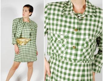 Vintage 1990's Dress Set - 80's 90's Green Gingham Dress & Jacket - Size M