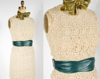 1960's Crochet Skirt Set - 60's 2 Pc Cream Fall Set - Size XS