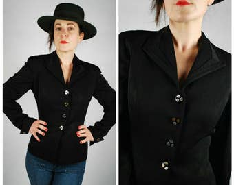 1940's Blazer - 40's Black Fitted Jacket - Size M