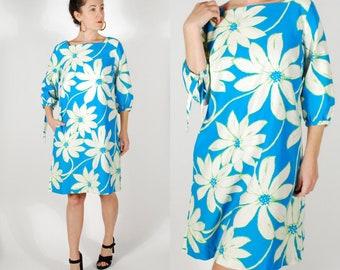 Vintage 1960's Dress - 60's Floral Tuni Dress - Blue Mini Dress