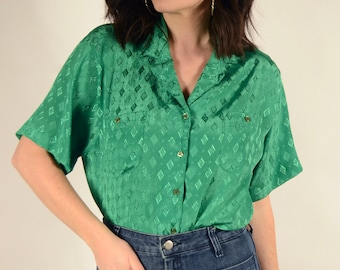 Vintage Kelly Green Blouse - Gucci Style Silky Blouse - Size M-XL