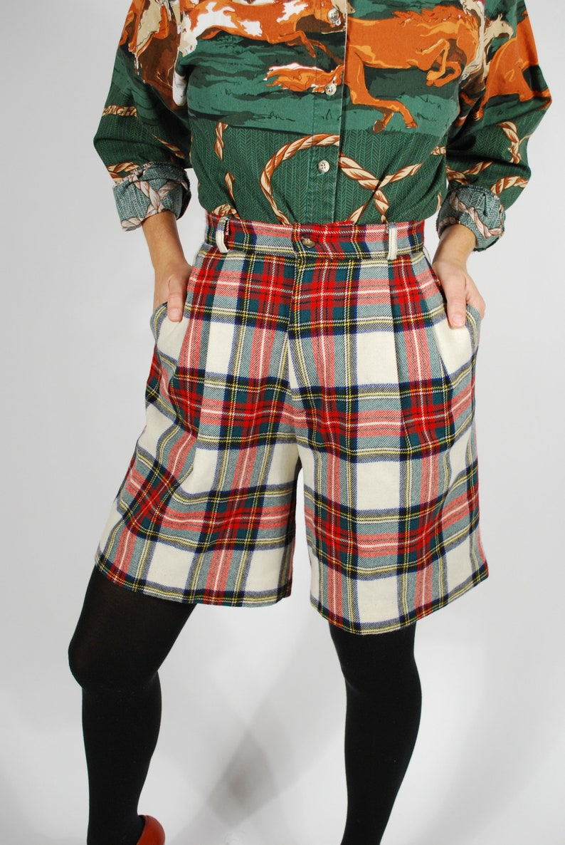 Size Small Fall Winter High Waisted Culottes Vintage Plaid Wool Shorts
