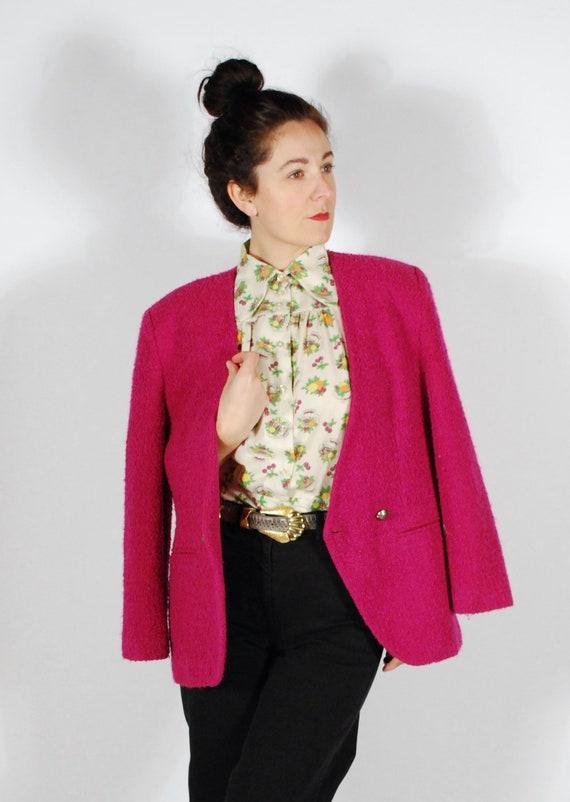 Vintage Hot Pink Blazer - 80's Boucle Jacket - Ove