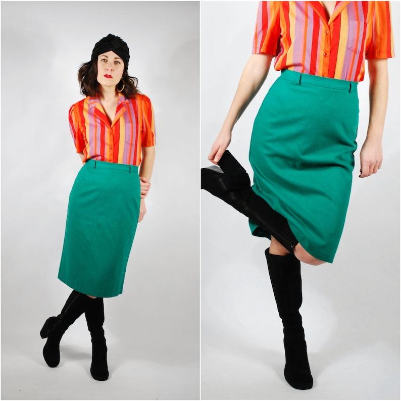 476f19155408 Vintage Pencil Skirt 80's Wool Wiggle Skirt Kelly | Etsy