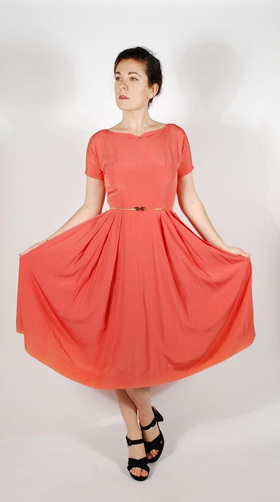 1950's Coral Dress - 50's Rayon Party Dress - Vint