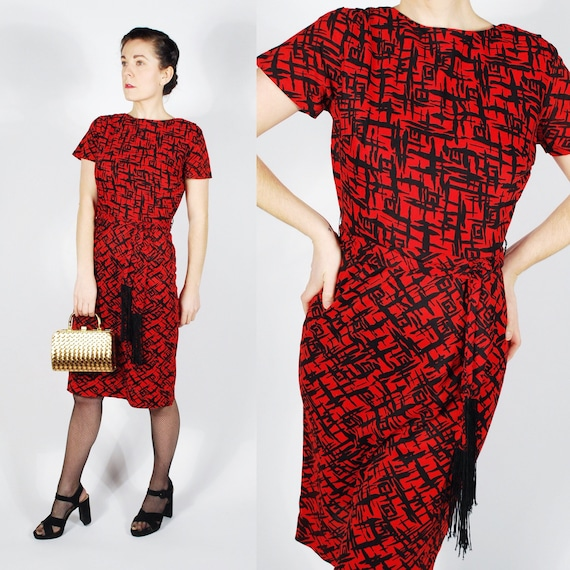Vintage 50's 60's Red Dress - 50's Sheath Fringe D