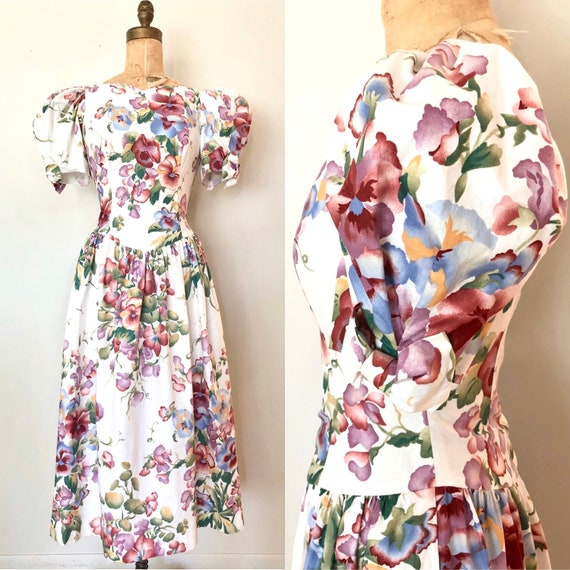 1980's Floral Cotton Dress with Puff Sleeves - Siz
