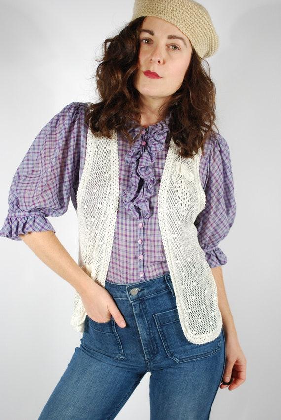 1970's Crochet Vest - White Bohemian Vest - Size S