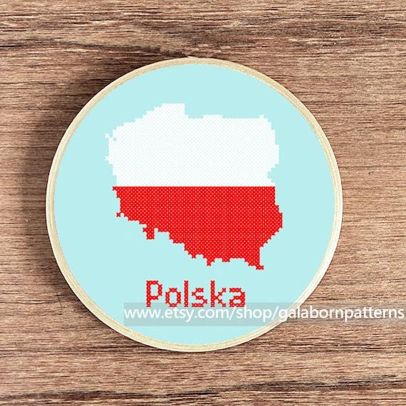 Poland map Poland flag Counted cross stitch pattern PDF | Etsy
