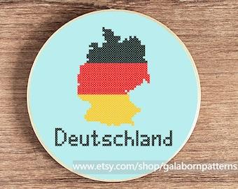 Germany map - Modern counted cross stitch pattern PDF - Deutschland - Flag