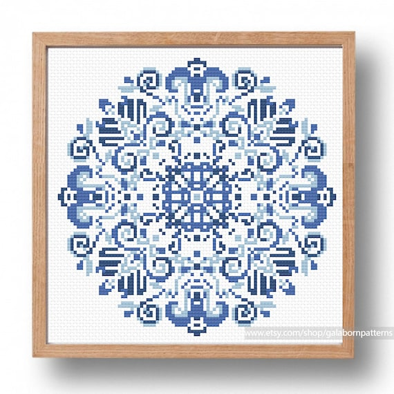 Cross Stitch Pattern Blue Delft Counted