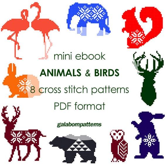 eBook 9 animales cross stitch patrones punto de Cruz moderno   Etsy
