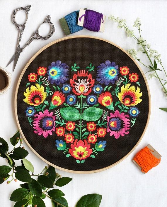 Polish Cross Stitch Pattern Floral Heart Pattern Folk Art Etsy
