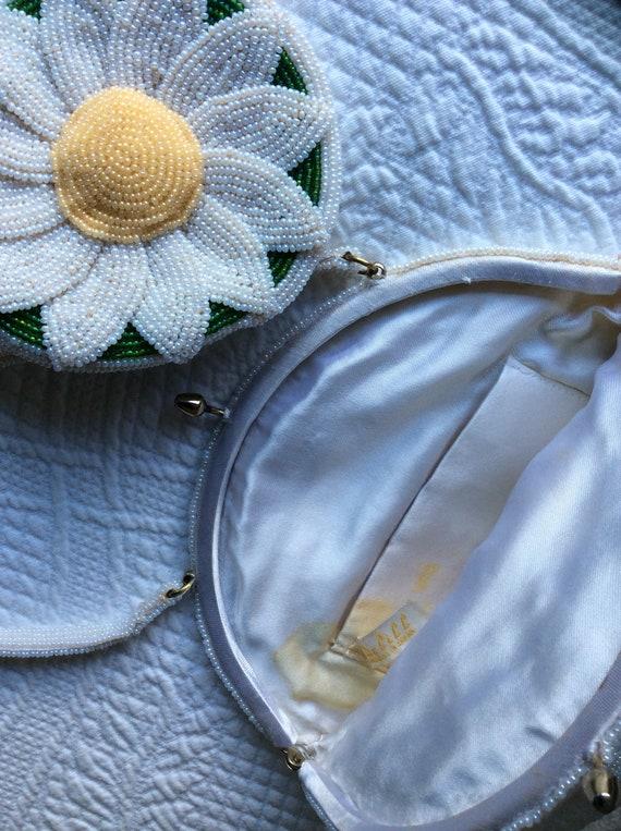 DeLill beaded flower hand bag purse  Daisy 1960s - image 5