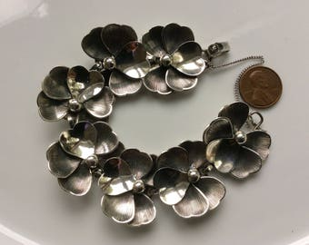 Danecraft Pansy Bracelet and Earrings Vintage American Sterling