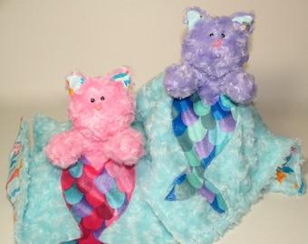Mermaid kitty Lovey Blanket, cat Lovie Stuffed Animal, minky security blanket, baby shower, Easter, first birthday gift plush Valentine gift