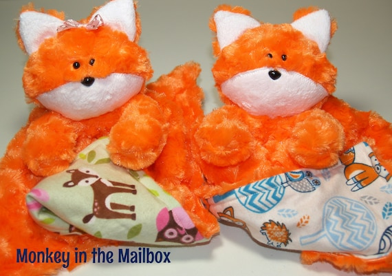 Fox Lovey Blanket Minky Blanket Lovie Stuffed Animal Etsy