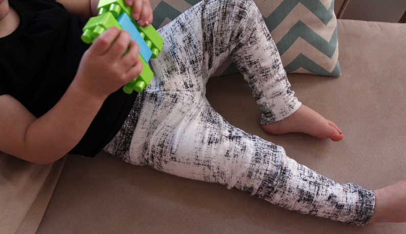 Baby Leggings Organic Cotton Interlock Knit Made with Spoonflower designer artisan fabric
