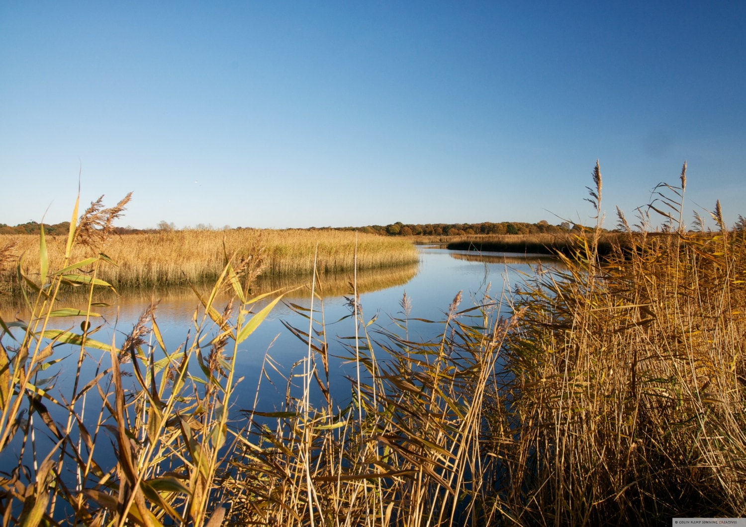 Riverside landscape, fine art Photographic print, reed beds and big sky,  Snape Maltings, Suffolk 18x12 inch unmounted