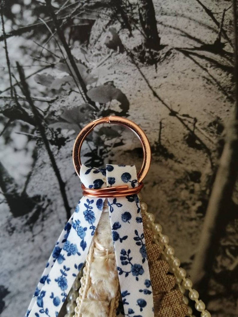 Rose Gold Keyring Hand made Keychain Vintage Inspired