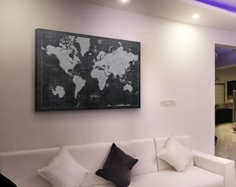 Push Pin World Map - Modern Push Pin Cork Canvas Best (Modern Slate Style)