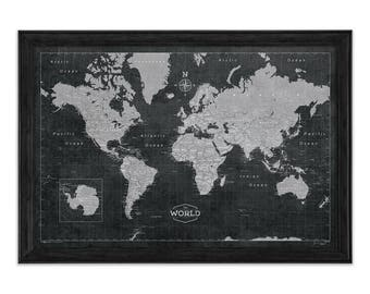 World map poster rustic vintage style travel map etsy modern world travel map poster modern slate style map gumiabroncs Choice Image