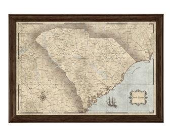 Vintage South Carolina Map.South Carolina Map Etsy