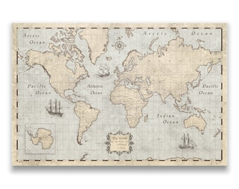 World Travel Push Pin Map - Rustic Vintage Cork Pin Board Canvas (Rustic Vintage Style)