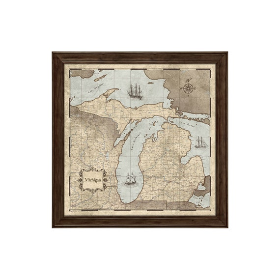 Michigan Map Poster Rustic Vintage Style Travel Map Etsy