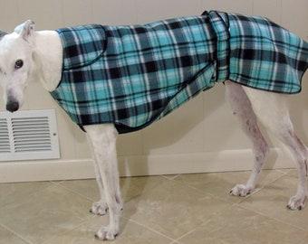 Greyhound Winter Coat, Mint Black Plaid, W25, NEW FABRIC