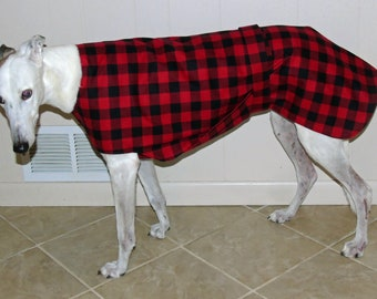 Greyhound Jammie, Buffalo Plaid, P23 SIZE Large {Large shown on a medium hound}