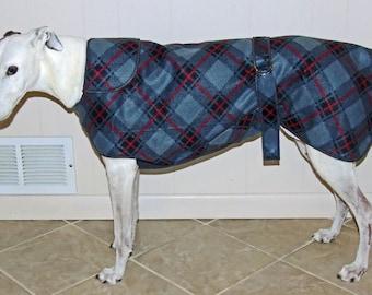 Greyhound Winter Coat, Gray Diagonal Plaid, W17, NEW FABRIC