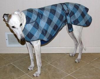 Greyhound Winter Coat, Check Bias Blue Plaid, W16, NEW FABRIC