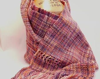 Hand Woven Merino Wool and Silk Scarf - Orange, pink, Grey