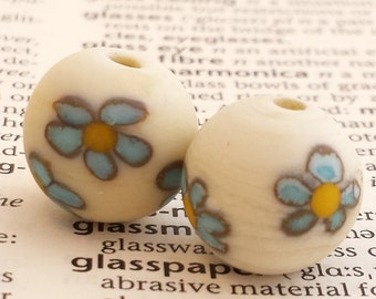 Handmade Forget me not Etched Glass Bead Pair in Ivory and Blue - Suitable for earrings or lace bobbin spangles