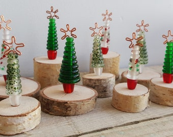 Handmade Glass Mini Christmas Trees, Set of 3 - Lampwork Glass Christmas Tree on natural wood plinth