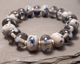 Sparkly Grey and Blue Lampwork Glass Bead Stretch Bracelet