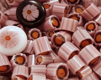 Campion Pink Murrini COE 104 handmade glass chips for lampwork or fusing.