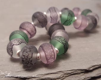 Sea Pink Lampwork Glass Bead Stretch Bracelet