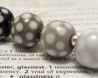Pick 'n' Mix Polka Dot Handmade Lampwork Round Beads in Monochrome - Suitable for earrings, bracelets or lace bobbin spangles