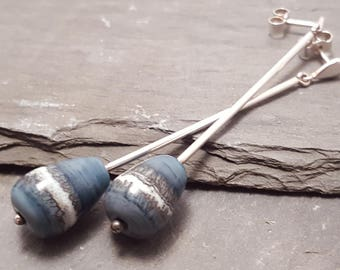 Lampwork Glass Bead Long Denim Blue Drop Earrings, Blue and Cream with Sterling Silver