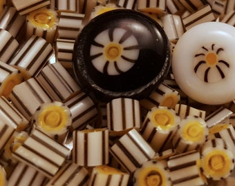 Lemon Zebra Murrini  COE 104  handmade glass chips for lampwork or fusing.