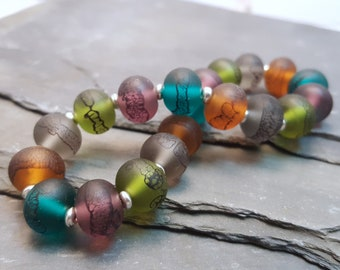 Persian Jewel Tones Lampwork Glass Bead Stretch Bracelet
