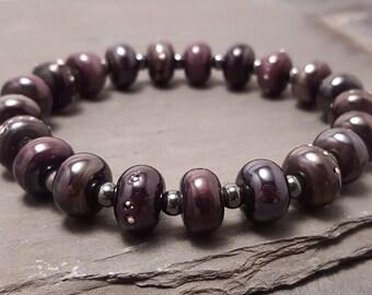 Black Purple Pearl Lampwork Glass Stretch Bracelet with Haematite