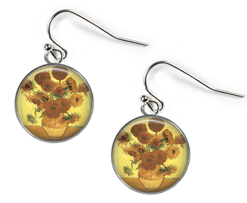SUNFLOWERS Vincent Van Gogh Set: Pendant Chain /& Earrings Glass Picture Jewellery Silver Plated